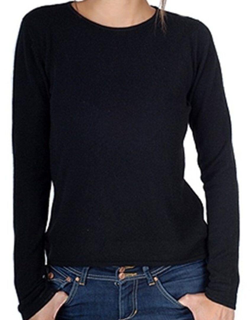 Balldiri 100% Cashmere Damen Pullover Rundhals 2-fädig schwarz S