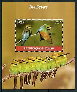 Chad-2017-CTO-Bee-Eaters-Bee-mangiatori-1v-M-S-birds-stamps