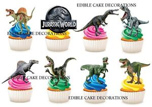 30 Jurassic World Dinosaur Stand Up Cupcake Cake Topper