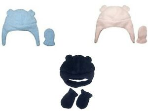d97661e58 NWT Carters Baby Girl Pink Boy Blue Navy Sherpa Cozy Hat Mittens Set ...
