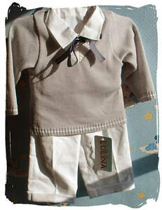 Caricamento dell immagine in corso ABITO-VESTITO-DA-BATTESIMO-COMPLETO- bianco-grigio-in- fb9acb34f91