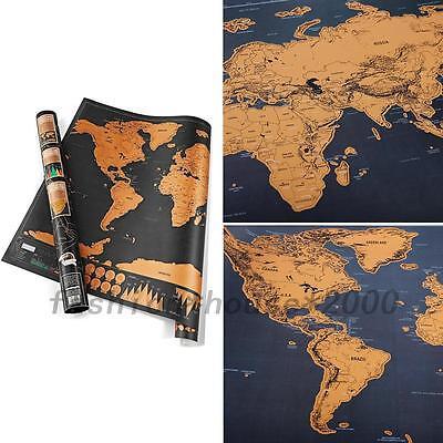 Scratch Carte Du Monde À Gratter Enseignement Voyage Décoration Mur 82x59CM