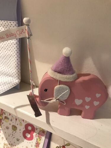 Gisela Graham New Baby Girl Elephant Wooden Sign Rrp £4.99 Bnwt