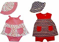 Baby Girls Romper Dress And Hat Set - Choose Color & Infant Sizes