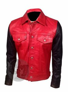 Vintage Nero Pelle Giacca E Di Slim Justin Bieber Moda Bomber Rosso Zp64H