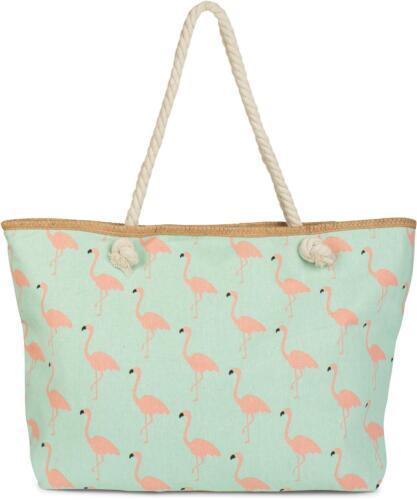 Shopper Reißverschluss XXL Strandtasche Flamingo Print Schultertasche Damen