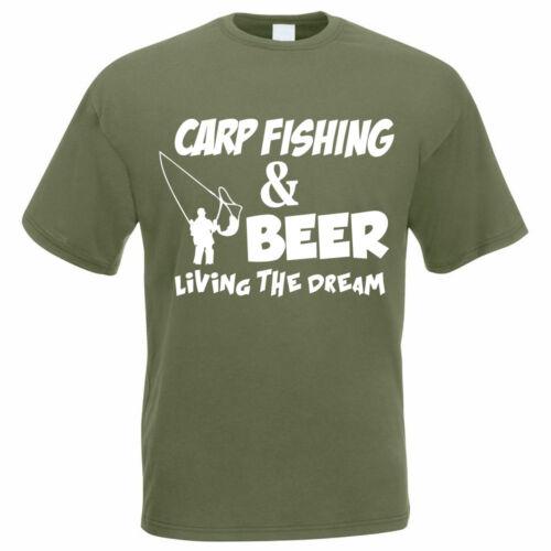 Fisherman Fishing T-Shirt CARP FISHING AND BEER Angler Funny Gift Idea