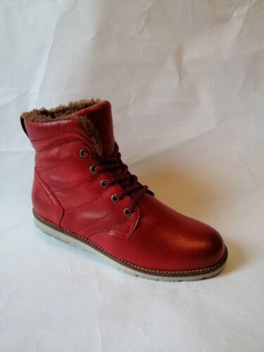 Bottines Femme cuir Varitable rouge Fourrée marron  mode Hiver neuves