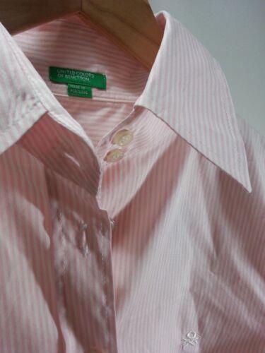 Pink Down Sz S Button Bennetton Striped Women's Shirt I4wRq15
