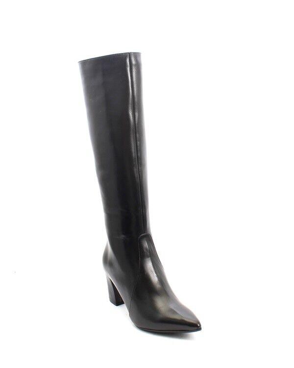 Luca Grossi 3501 Black Leather Sheepskin Knee High Pointy Boots 40 / US 10