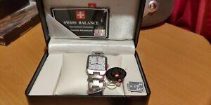 Swiss-Balance-Men-039-s-Watch-Silver-Colors-Original-Display-Box-New