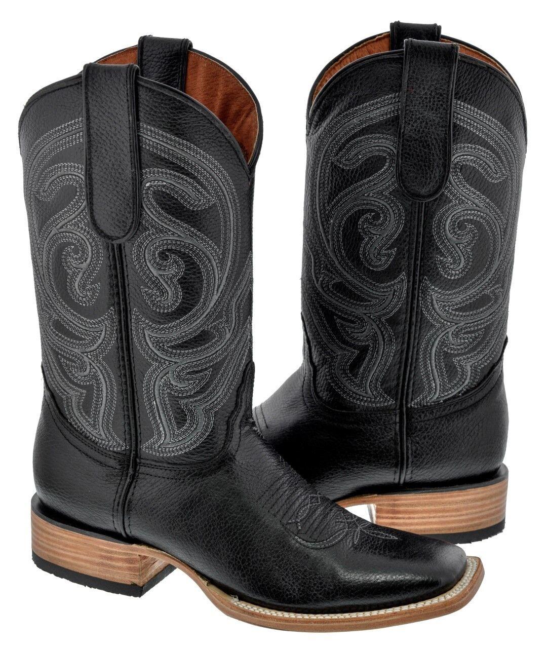 Hombre Cuero Real Suave Negro botas De Vaquero Western Wear Dedo Del Pie Cuadrado Casual