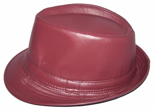 FedHat11 Z Fedora Trilby Hats For Adults Uni-Sex Faux Leather Hats 6  Colors