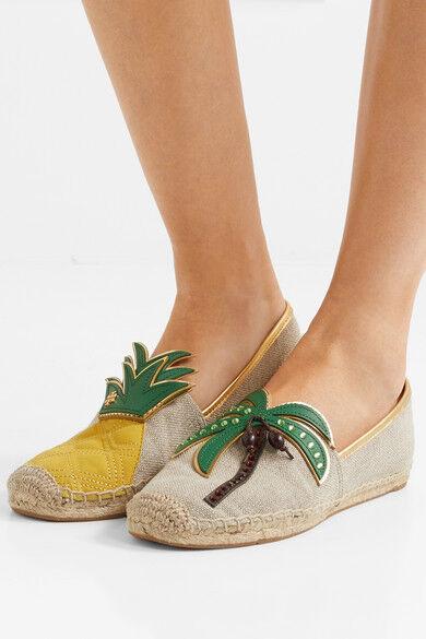 Tory Burch Natural Linen Castaway Flat Loafer Espadrille Tropical shoes 10.5