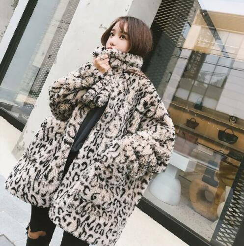 Leopard Oversize Fur Thicken Lamb Womens Winter Outwear Jacket Chic Parka Rw0Ywfq