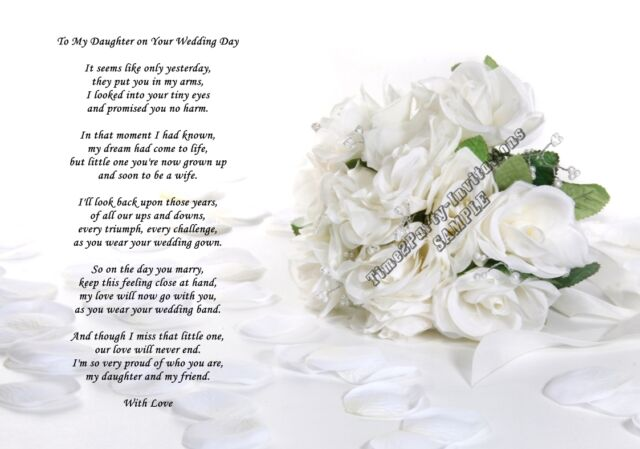 A4 Poem From Mum to Daughter on Her Wedding Day Gift - Can Be Personalised