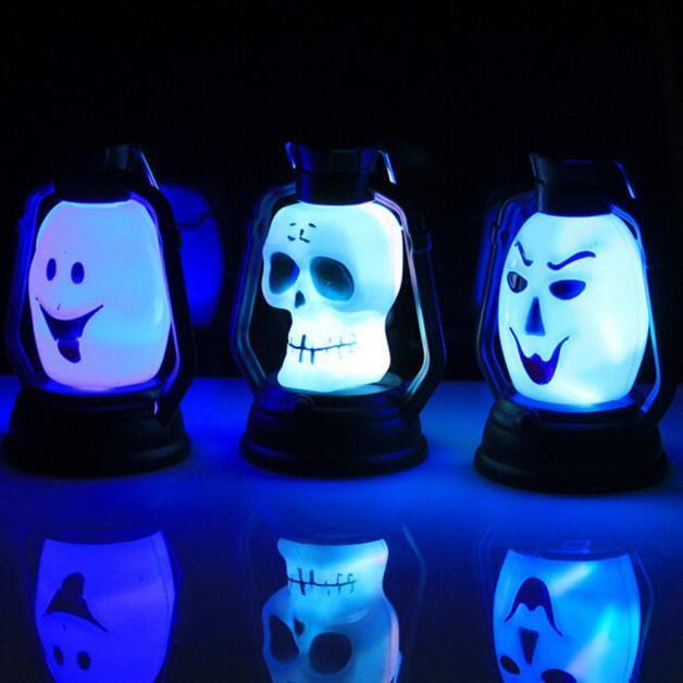 2016 LED Pumpkin Grimace Skull Hanging Light Lamp Kerosene Halloween Party Decor