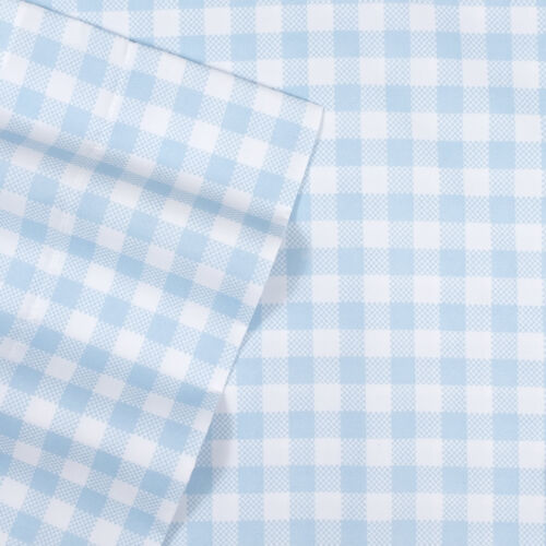 Blue Gingham Pattern Kids Sheet Set Twin Full Twin XL