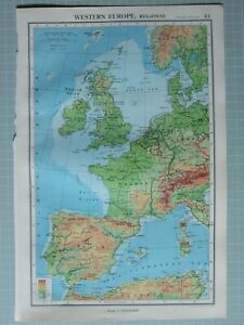 Map Of Spain Portugal And France.Details About 1952 Map Western Europe British Isles France Spain Portugal Belgium