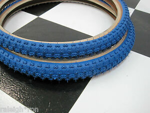 2-Blue-SKIN-WALL-20-x-2-125-034-CHENG-Bicycle-TIRES-for-Old-School-Mongoose-BMX-Bik
