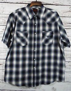 Plains-Western-Wear-Mens-XL-Button-Front-Short-Sleeve-Plaid-Pearl-Snap-Shirt