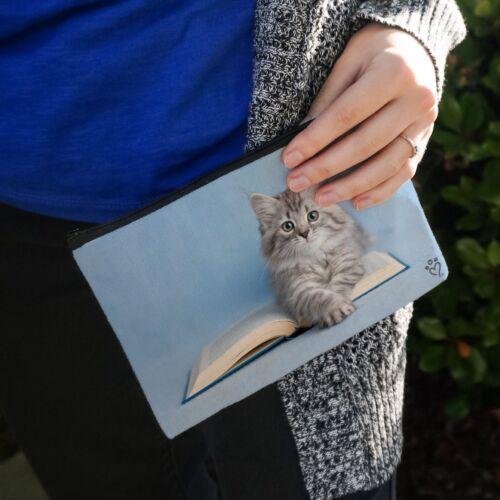 Siberian Tabby Kitten Cat Reading Book Pencil Pen Organizer Zipper Pouch Case