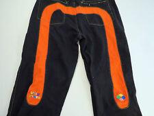 EVISU GENES Jeans Sz 38  x 35 LOT 0454 Loose  Hip Hop Black w/ Orange Daicock