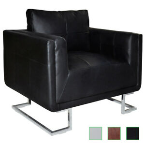 La Foto Se Está Cargando Cube Club Chair Accent Armchair  Real Leather Chrome
