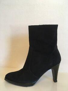 Details about LOLA SHOES Black Suede Calf Boots Womens UK 3 EU 36