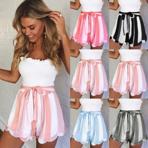 UK Summer Women Ladies High Waist Casual Stripe Beach Hot Pants Shorts Size 6-16