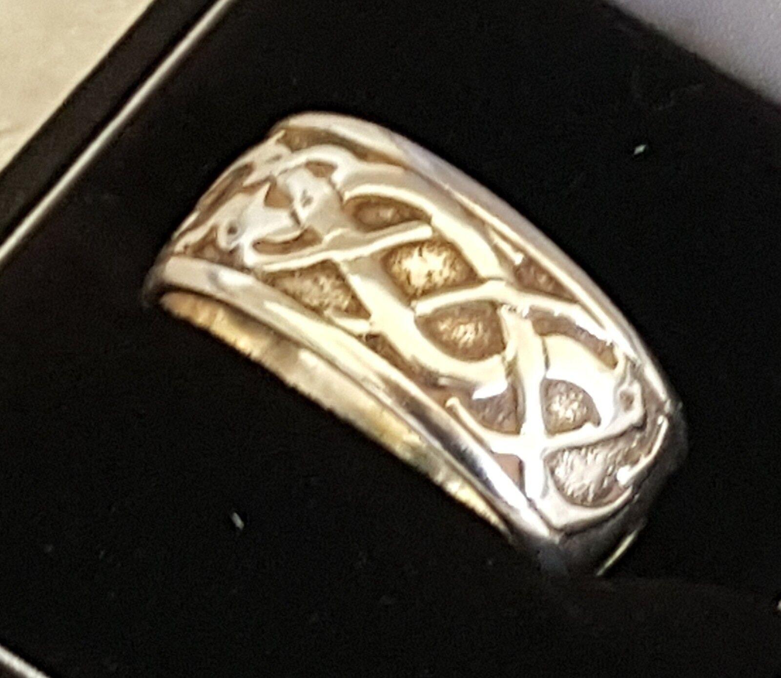 argentoo Sterling Vintage Art Deco Antico Nodo Celtico Anello-dimensione Anello-dimensione Anello-dimensione X 40fd86