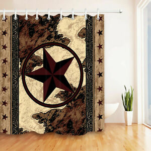 Fabric Shower Curtain Set 12 Hooks Texas Star Vintage Western Bathroom Decor Ebay