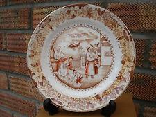 Early Dutch Plate by Petrus Regout  Oriental Scene of Figures near Waterside.