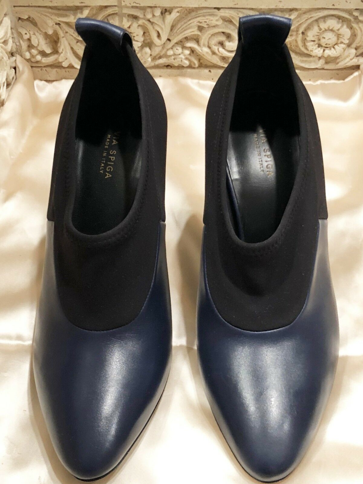 $295 NWT VIA SPIGA 'BAYNE' BLOCK HEEL NAVY BLACK 7 PUMP SIZE: 7 BLACK dd2add