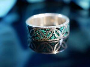 Starker-925-Silber-Ring-Gruen-Email-Gross-Breit-Blaetter-Zapfen-Muster-Floral-Edel