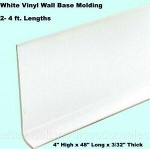 "White LOT OF 7 48/"" x 4/"" PVC Vinyl Wall Base Molding"