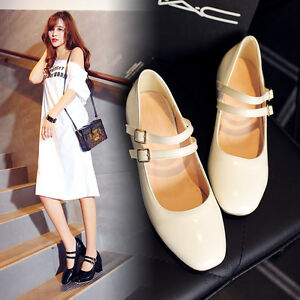 Womens-Fashion-Ankle-Strap-Med-Heels-Square-Toe-Patry-Pumps-Shoes-AU-2-5-14-C54