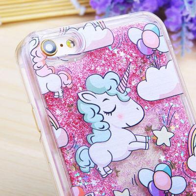 Dynamic Quicksand Glitter Liquid Unicorn Hard PC Case Cover For iPhone Samsung