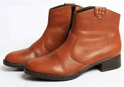 Rieker botín zapatos señora botas de cuero marrón cremallera cremallera cremallera 73453-24 da23c4