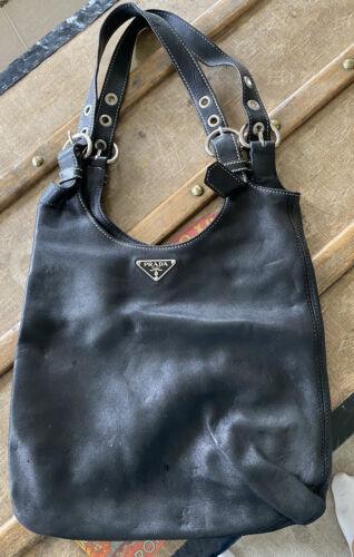 PRADA Vintage Leather Hobo Medium Bag