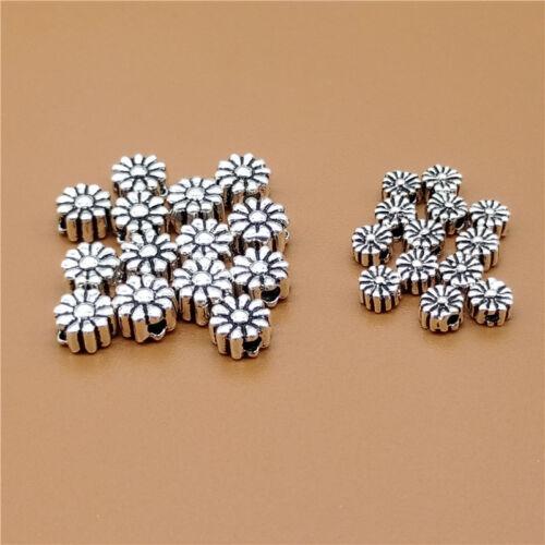 20 Sterling Silver Sunflower Flower Beads 925 Silver 4mm 5.5mm for Bracelet