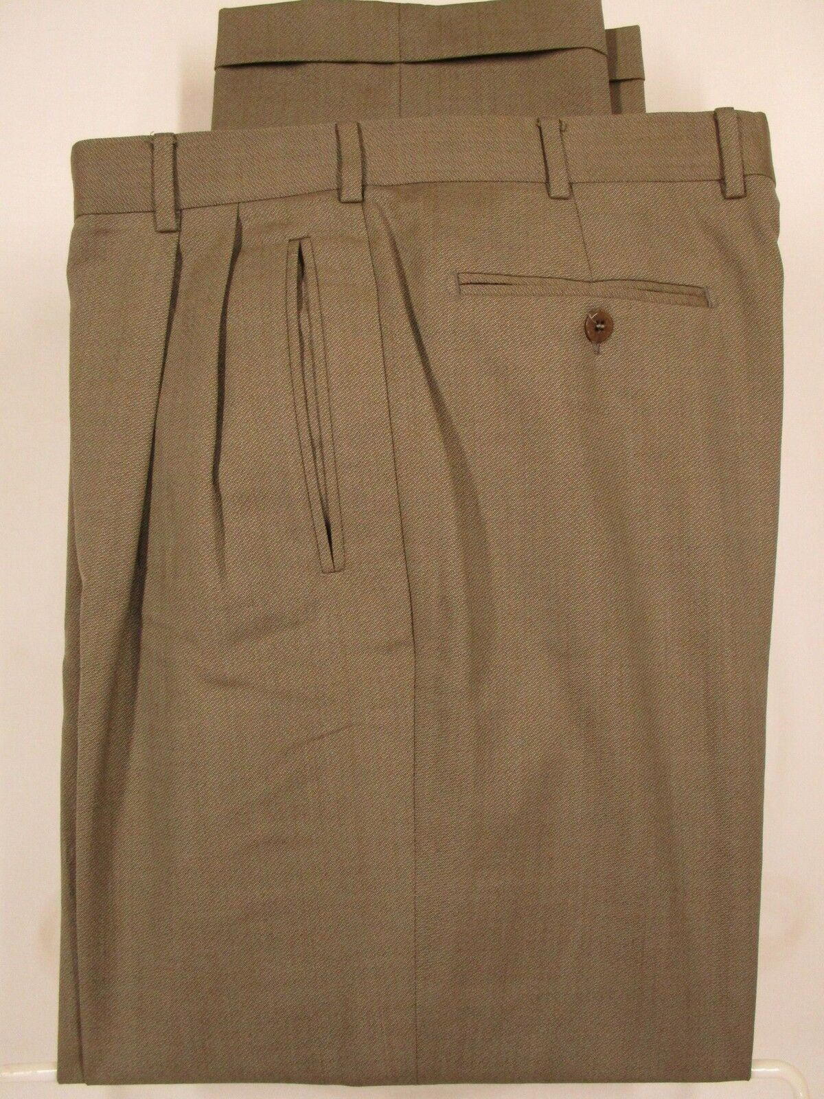 Zanella Duncan Mens Tan Pleated Wool Dress Pants size 34 34x31