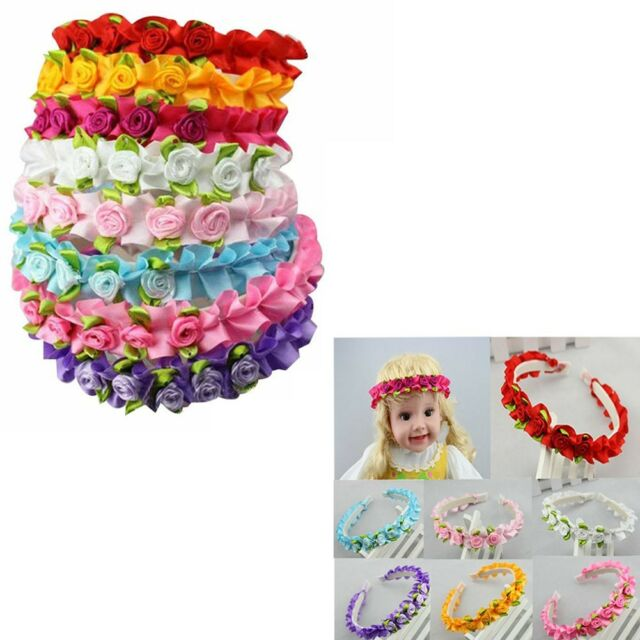 8pcs Wedding Baby Girl Rose Flower Plastic Headband Hair Band Mix 8 Color