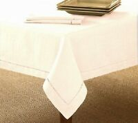 Hemstitch Single Border Ivory Tablecloths 60 x 84 100% Cotton Limited Stock