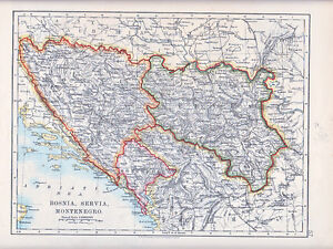 Karte Montenegro Kroatien.Details Zu 1912 Map Bosnia Servia Montenegro Herzegovina Croatia