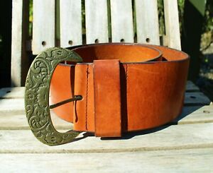 Details about Next leather ladies camel coloured belt size small 8 cm wide used condition ????