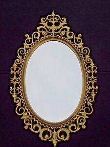 Vintage-Burwood-Products-Gold-Gilt-Ornate-Hollywood-Regency-Oval-Wall-Mirror