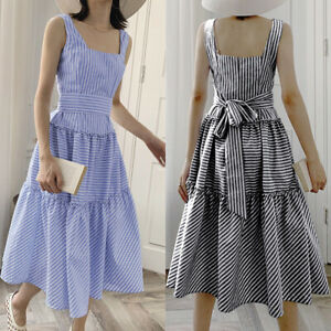 Size-Womens-Holiday-Strappy-Tie-Belt-Ladies-Summer-Beach-Midi-Swing-Sun-Dress-UK
