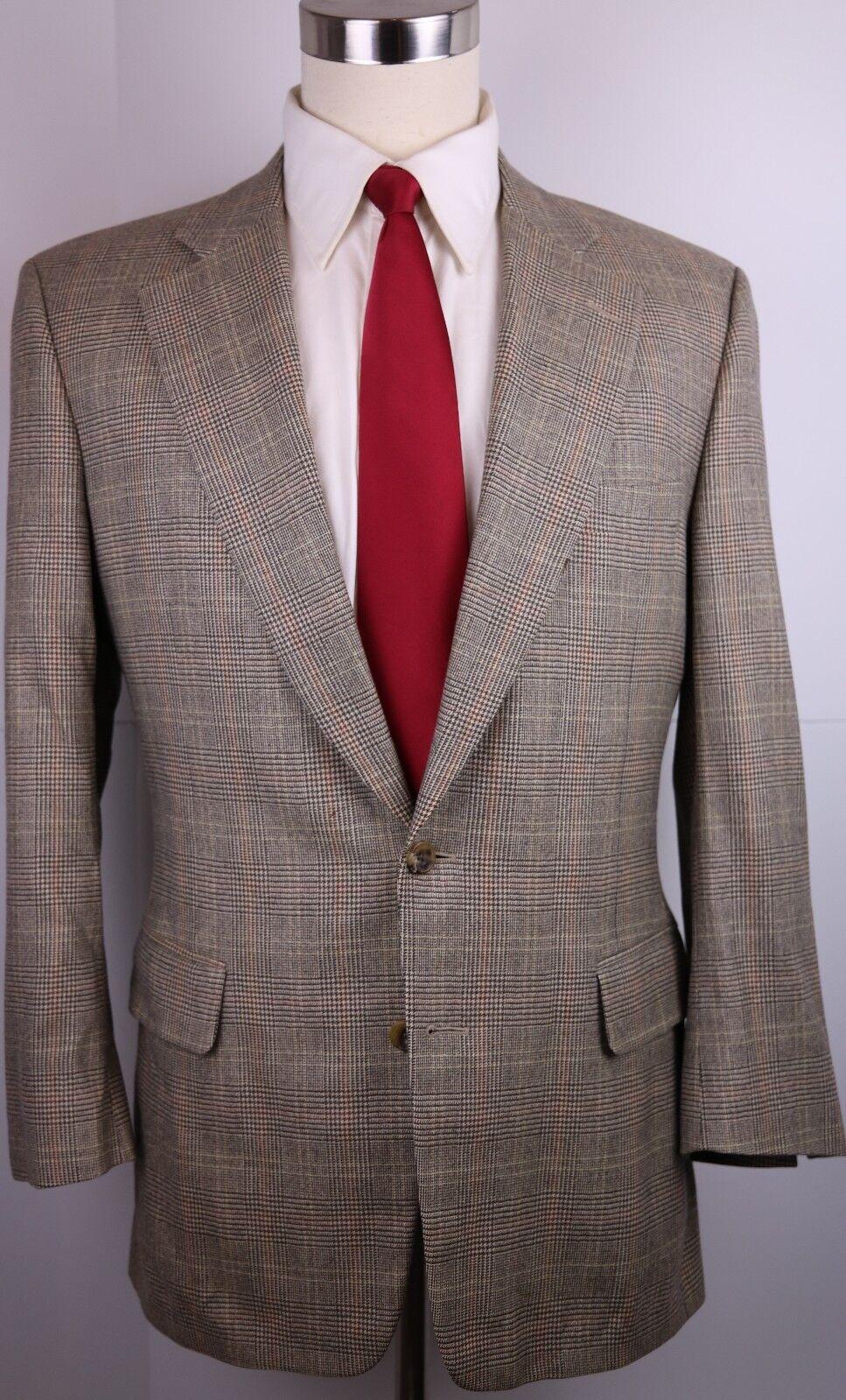 Paul Stuart Beige Plaid Two Button Super 150s Wool Side Vented Suit 41 R 32 31
