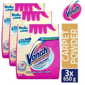3 x Vanish Carpet Cleaner + Upholstery Power Powder Large Area Cleaning 650g